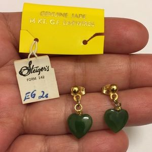 Vtg 14K GF Jade Dainty Feminine Earrings